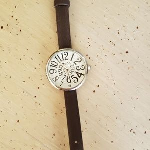 Mudd brown and silver watch